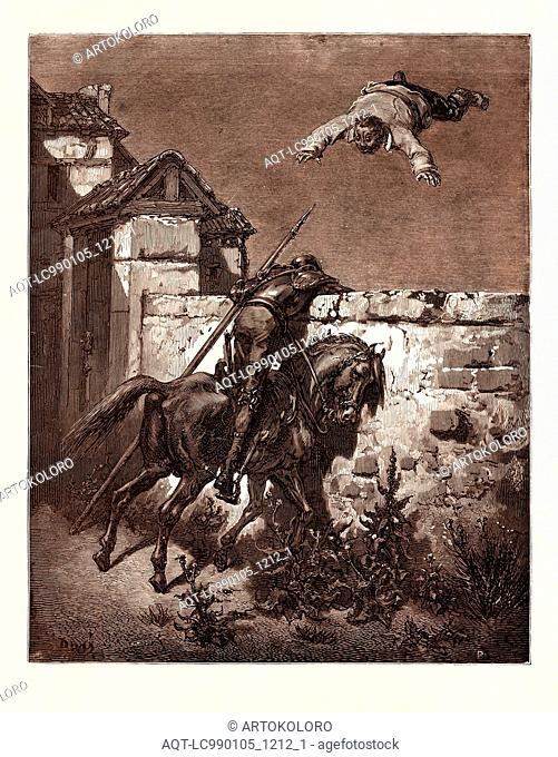SANCHO TOSSED IN A BLANKET, BY GUSTAVE DORÉ. Dore, 1832 - 1883, French. Engraving for Don Quixote by Cervantes. 1870, Art, Artist, romanticism, colour