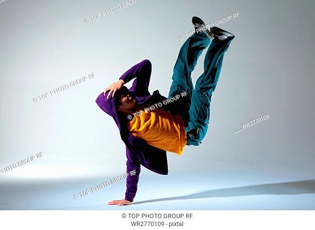 Hip hop funk dancer dancing man Stock Photos and Images