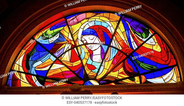 Mary Stars Stained Glass Basilica of Lady of Rosary Fatima Portugal. Church created on site where three Portuguese Shepherd children saw Virgin Mary of the...