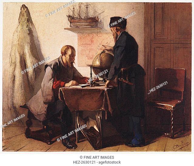 Jacob van Heemskerk and Willem Barendsz. plan their trip to the Arctic in 1594. Artist: Bisschop, Christoffel (1828-1904)