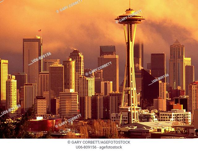 Seattle skyline with Space Needle. Washington. USA
