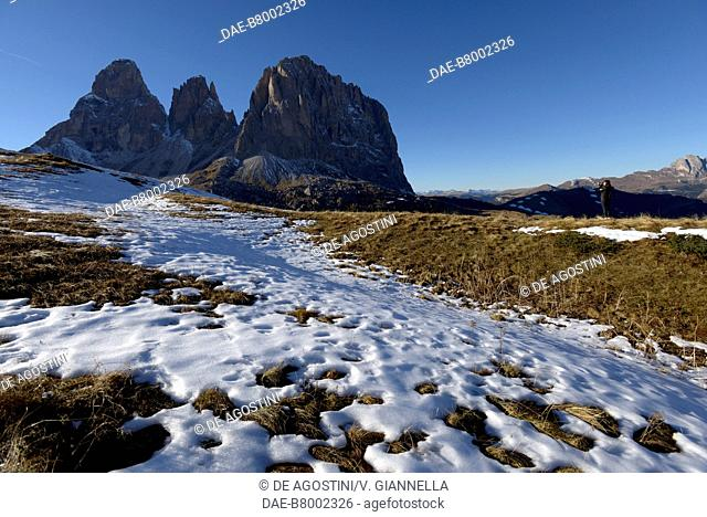 Autumn view of the south-east side of the Sassolungo-Langkofel group from the Sella pass road, Dolomites, Fassa Valley, Trentino-Alto Adige, Italy