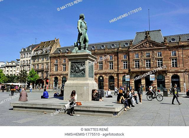 France, Bas Rhin, Strasbourg, old town listed as World Heritage by UNESCO, place and statue of Kleber