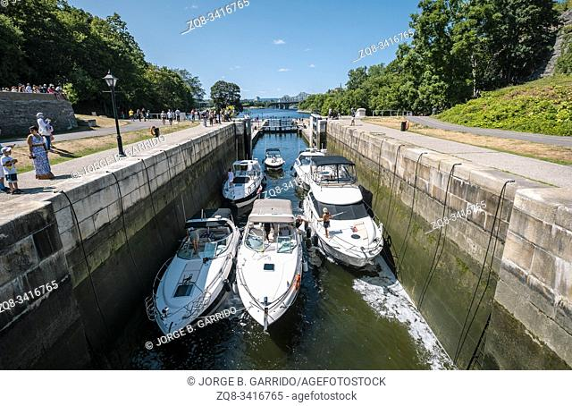 Lock Stations at Rideau Canal Waterway, Ottawa, Canada