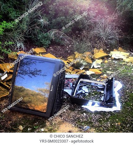 A tv and other garbage in Arcos de la Frontera, Sierra de Cadiz, Andalusia, Spain