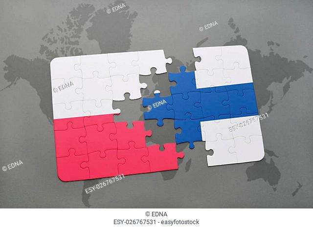 puzzle with the national flag of poland and finland on a world map background. 3D illustration