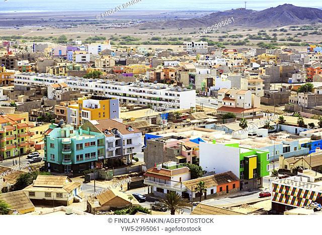 High view eastwards over the capital city of Espargos towards Mirador, Cape Verde, Africa