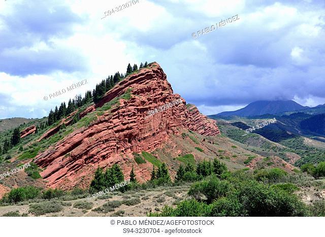 Sandstone formations, Seven Bulls (Jeti-Ögüz) near Karakol, Kyrgyzstan