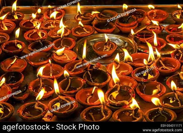 Detail of some candles in the Sri Siva Subramania Swami Kovil Temple in Colombo, Sri Lanka