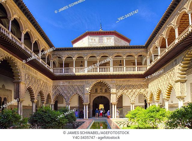 Real Alcazar de Sevilla, The Royal Alcázar of Seville is a royal palace in Seville Andalusia Spain