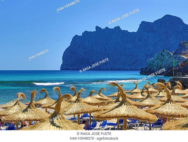 Cala, Cliffs, Formentor, Mallorca, Balearics, bath, beach, blue, island, leisure, Mediterranean, parasol, san Vicente, Spain, Europe, sun, tourist, touristic
