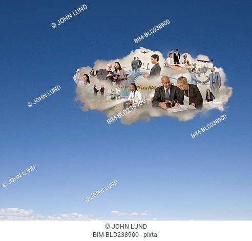 People working in social media cloud