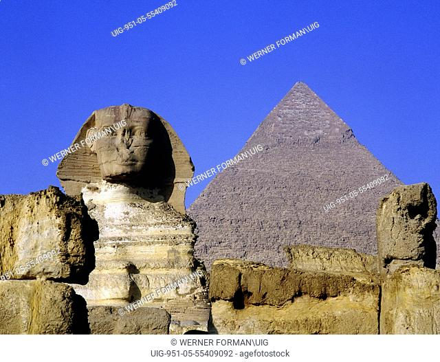 The Giza Sphinx with the pyramid of Khephren in the background