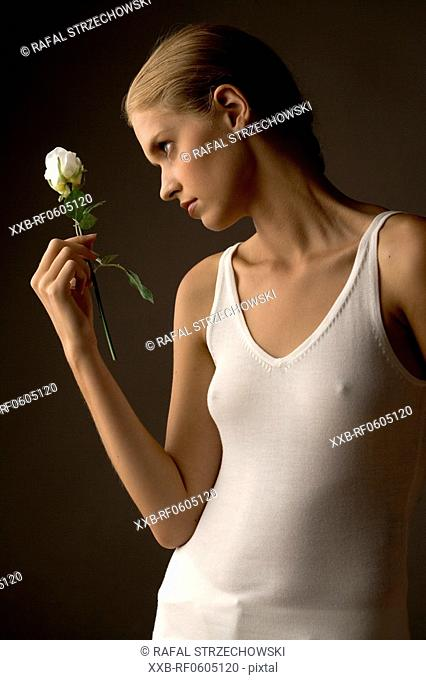 woman with white rose
