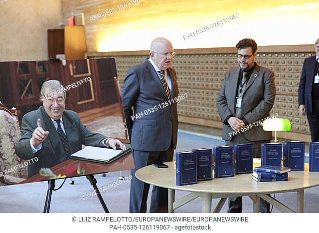 United Nations, New York, USA, October 30, 2019 - Russian Ambassador to the UN Vassily Nebenzia handover a hard copy of a compendium of academic works by E