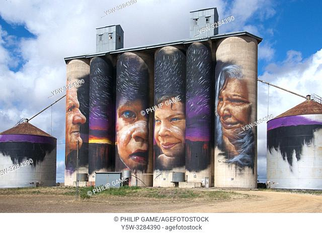Silo art depicting Aboriginal elders by Adnate at Sheep Hills, Wimmera region, Victoria, Australia. These public art works were executed by agreement with the...