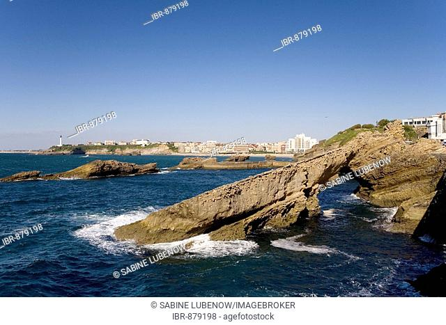 Rocky Coast, Lighthouse St. Martin, Biarritz, Basque Country, South France, France, Europe