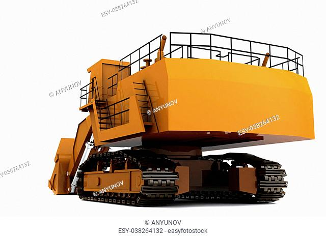 Orange dirty digger isolated on white background. Back view