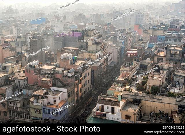 The view of Old Delhi from top of Jama Masjid mosque minaret. Taken in New Delhi, India