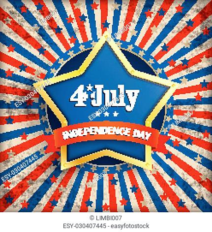 Vintage independence day background design with golden star