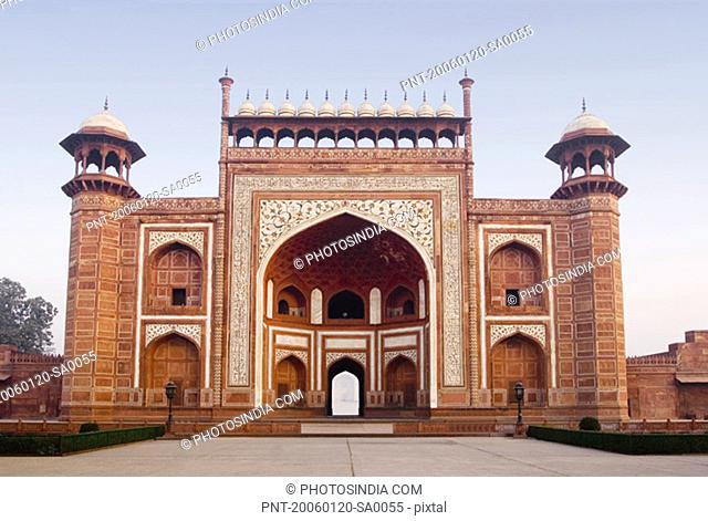 Facade of the entrance gate of a mausoleum, Taj Mahal, Agra, Uttar Pradesh, India