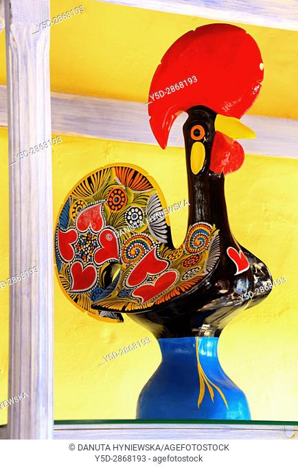 Barcelos rooster on shelf, Algarve, Portugal, Europe
