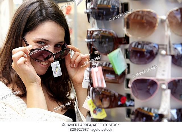 Sunglasses, shopping area, Bayonne. French Basque Country, Aquitaine, Pyrenees-Atlantiques, France