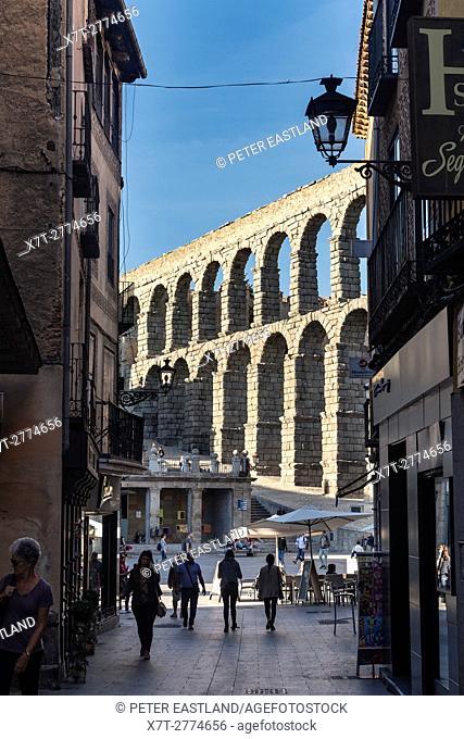 Segovia's 1st century Roman Aqueduct seen from Calle de San Francisco, Segovia, Spain