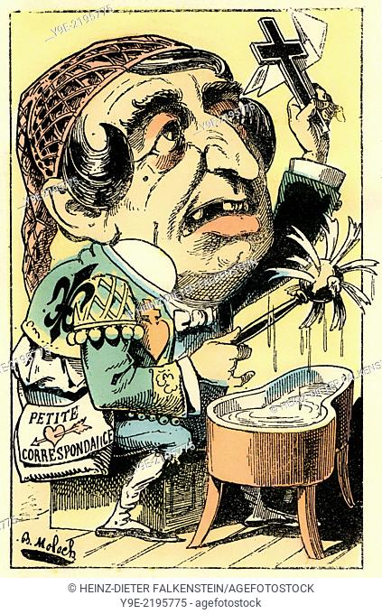 French daily newspaper Le Figaro, personified as FIGARO, political caricature, 1882, by Alphonse Hector Colomb pseudonym B