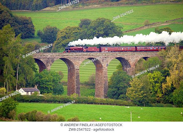 LMS Jubilee Class 45699 Galatea 'The Cumbrian Mountain Express', steam train on the Settle to Carlisle Railway Line. Dry Beck Viaduct, Armathwaite, Eden Valley