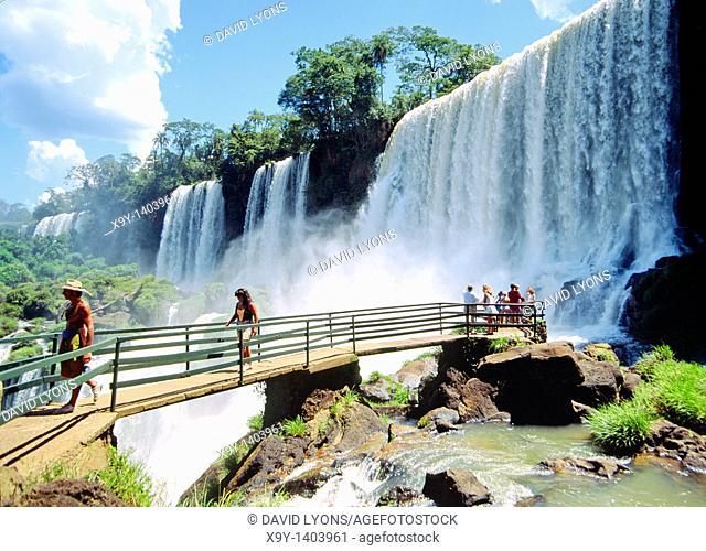 Iguazu Falls on the Brazil Argentina Paraguay border South America