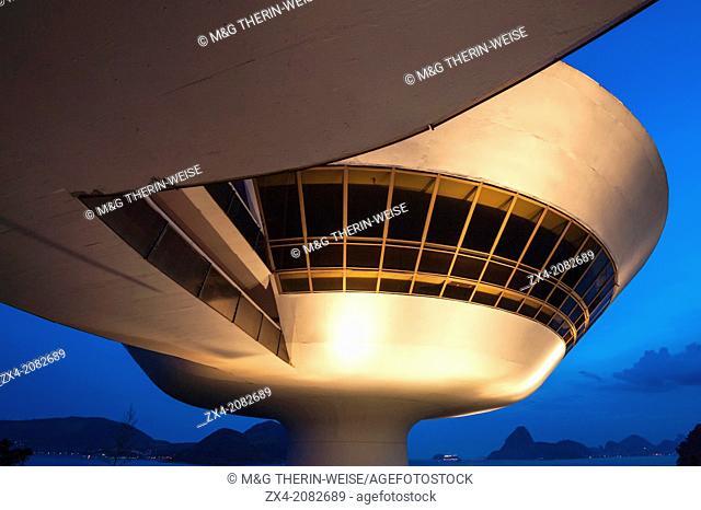 Niemeyer Museum of Contemporary Arts at night, Niteroi, Rio de Janeiro, Brazil