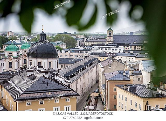 View of the Neustadt district with dome of Dreifaltigkeitskirche Holy Trinity Church, and Priesterhausgasse street, Salzburg, Austria
