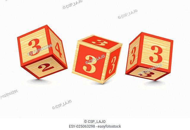 Vector number 3 wooden blocks