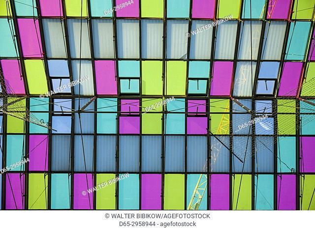 Austria, Tyrol, Innsbruck, Rathaus Galerien shopping center, ceiling