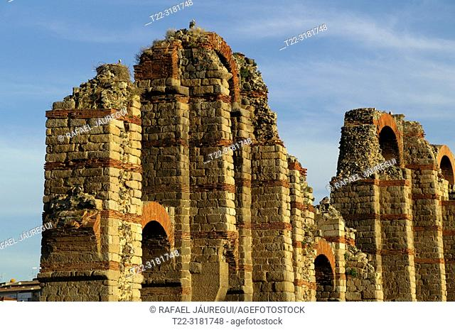 Merida (Spain). Architectural detail of the Aqueduct of Los Milagros in the city of Mérida