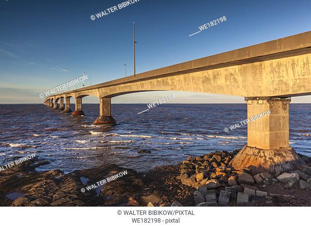 Canada, Prince Edward Island, Borden, Confederation Bridge, on the Northumberland Straight, dawn