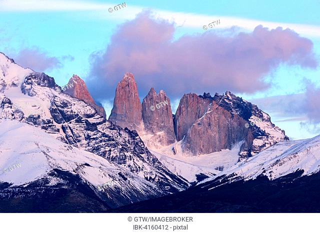 Cuernos des Paine and the Torres in the morning, Torres del Paine National Park, Chilean Patagonia, Chile