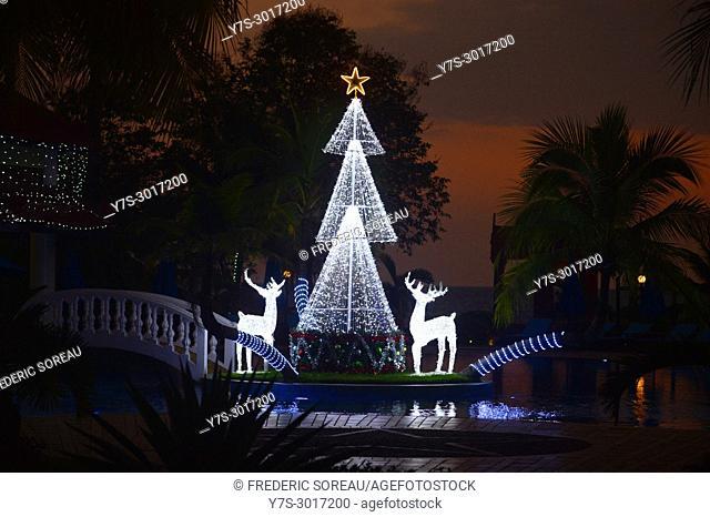 Christmas lighting at Sokha beach resort, Sihanoukville, Cambodia, South East Asia, Asia