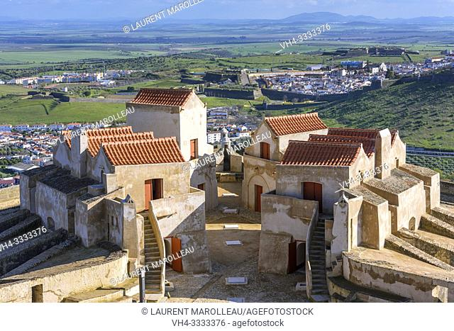 Living quarters in Fort of Graca and view of the Fortified city of Elvas, Garrison Border Town of Elvas and its Fortifications, Portalegre District