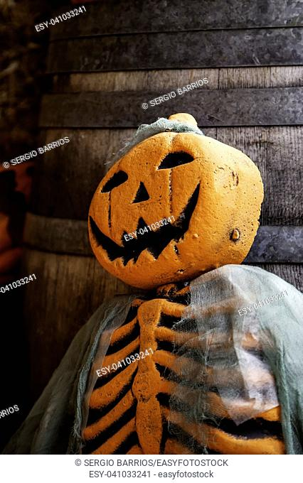 Scary pumpkins for Halloween night, detail of terror and fear