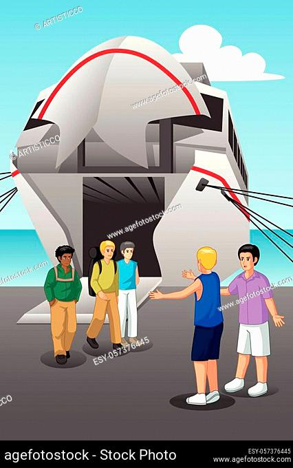 A vector illustration of Young Men Coming Out from the Ferry