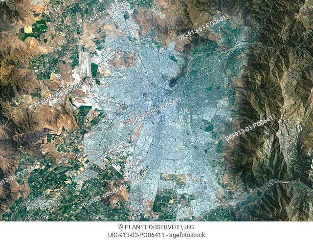 Colour satellite image of Santiago, Chile. Image taken on January 9, 2014 with Landsat 8 data