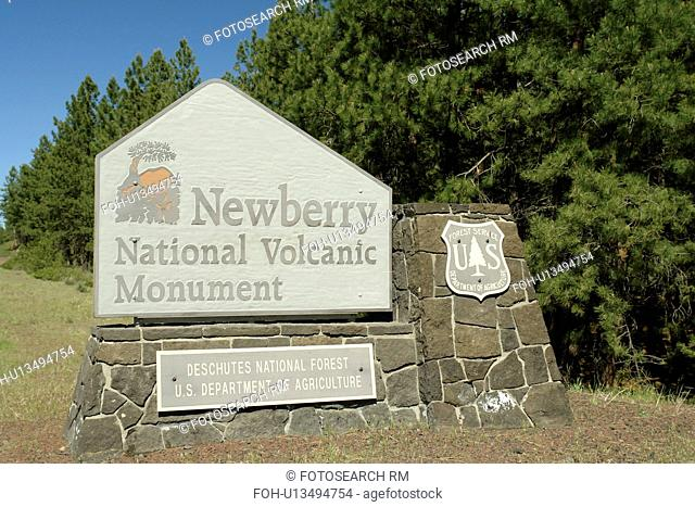 Bend, OR, Oregon, Newberry National Volcanic Monument, Deschutes National Forest, entrance sign