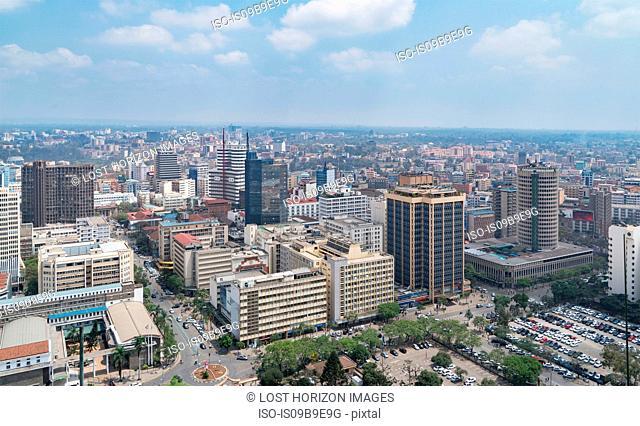 Modern buildings downtown Nairobi, Nairobi Area, Kenya, Africa