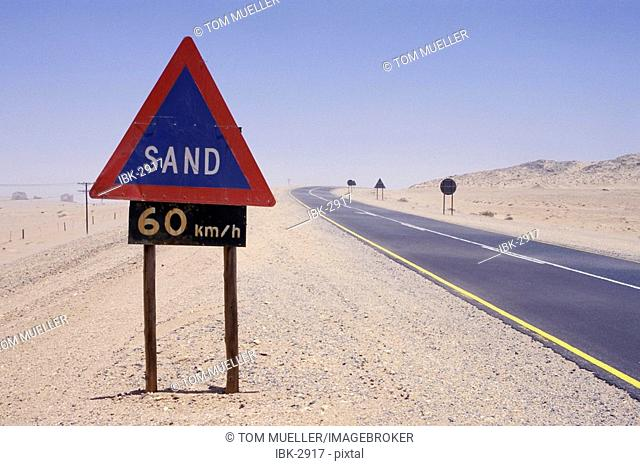 Sign marker sand in Namibia
