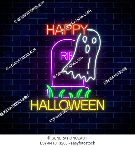 Glowing neon sign of halloween banner design with ghost from grave on dark brick wall background. Bright halloween night scary wraith sign in neon style