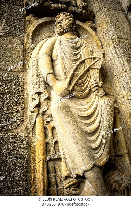Sculpture carved in stone on the facade of the Catholic Cathedral of Santiago. Santiago de Compostela. Capital of the autonomous community of Galicia