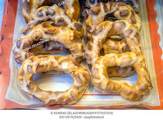 Rosquilla donuts in pastry shop in Oviedo, Asturias region in Spain