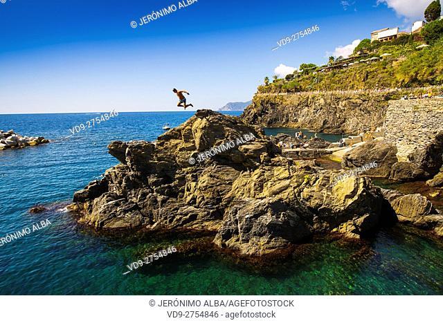 Manarola, Riviera de Levanto, fishing village, Cinque Terre. Genoa. Mediterranean Sea. Liguria, Italy Europe